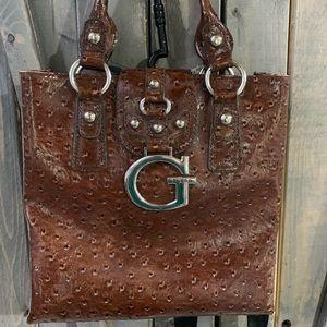 "Brown ostrich guess ""Ozzie"" purse"